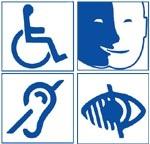 quatre pictogrammes représentant le handicap auditif, visuel, mental et moteur