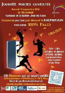 Affiche de la journée portes ouvertes du club de Badminton